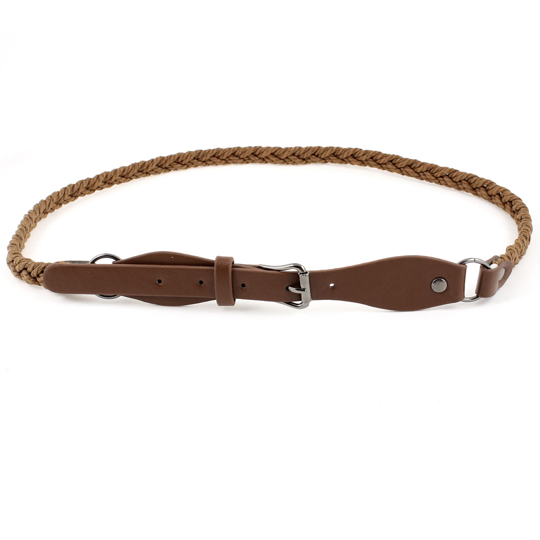 Lady Brown Faux Leather 1.8cm Wide Single Prong Buckle Double Braided Waist Belt