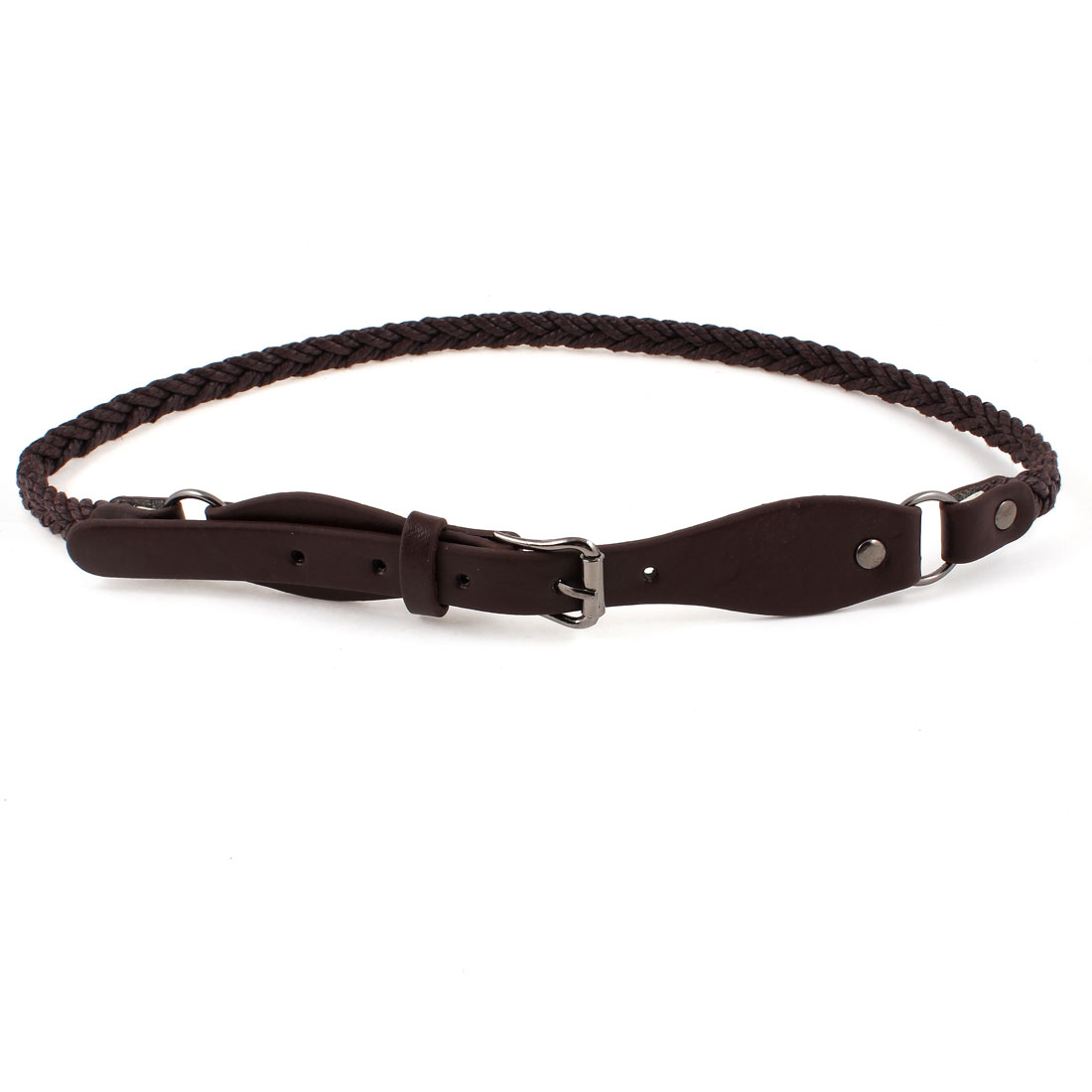 Lady Faux Leather 1.8cm Wide Single Prong Buckle Braided Waist Belt Coffee Color