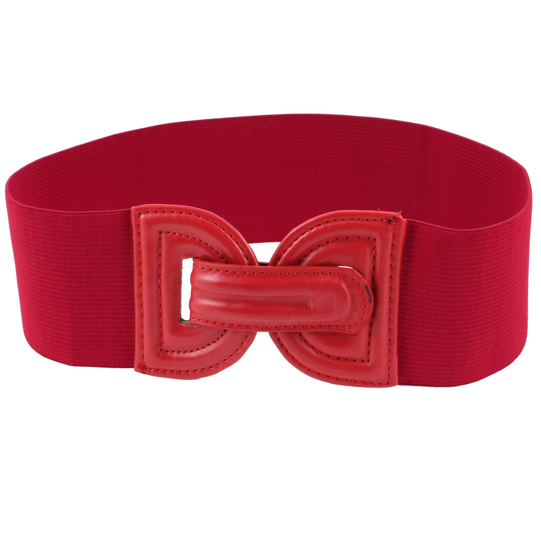 Women Lady Press Stud Button 7cm Width Stretch Waist Belt Red