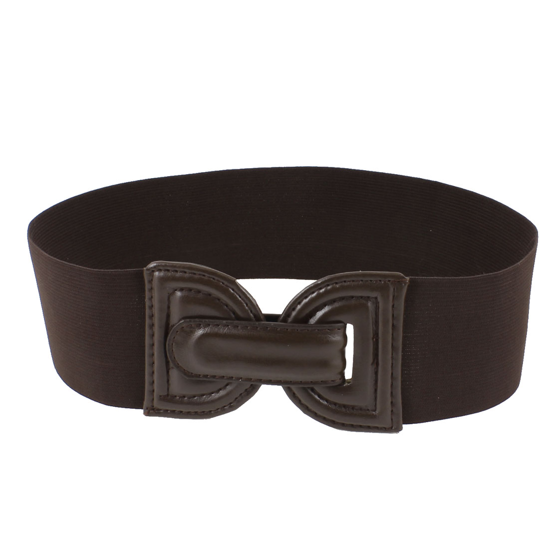 Lady Faux Leather Front 7cm Wide Stretchy Waistband Cinch Belt Coffee Color