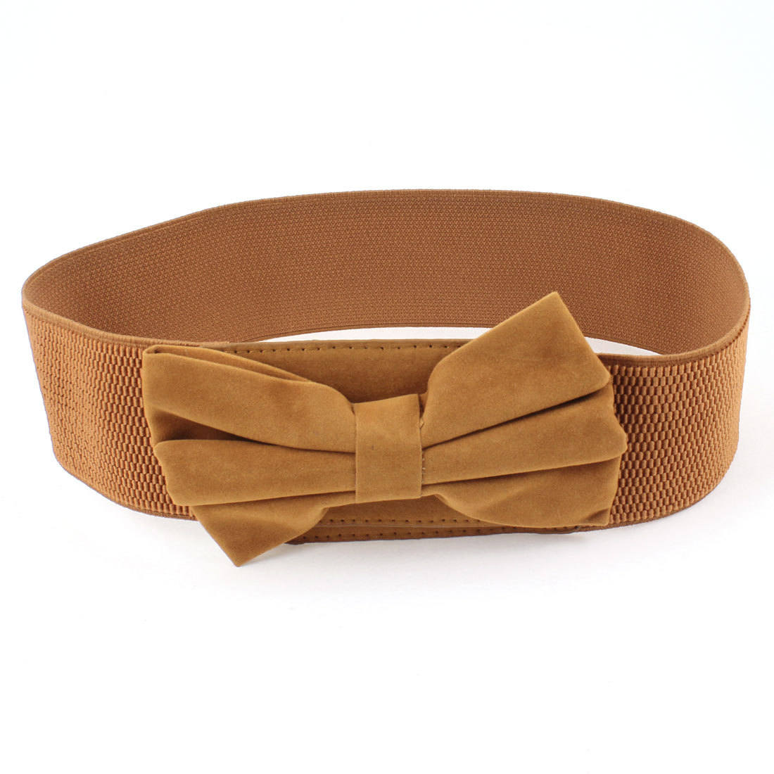Woman Bowknot Interlocking Buckle 6cm Wide Brown Spandex Waistband Cinch Belt