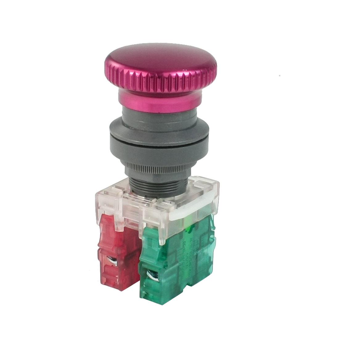 AC600V Ui 10A Ith 1NO 1NC Burgundy Mushroom Cap Momentary Push Button Switch