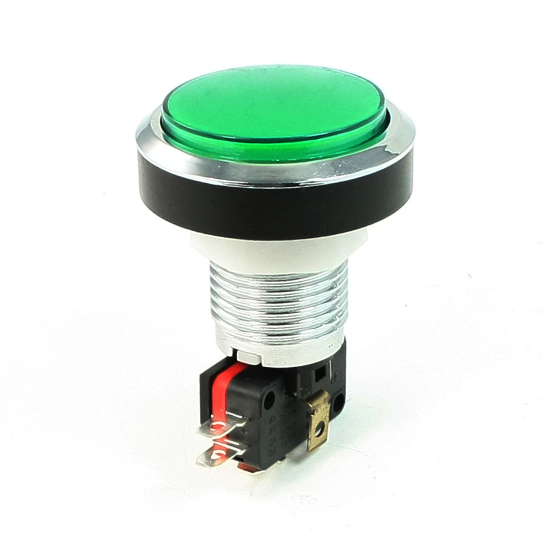 Metal Ring Circled Green Cap Momentary Push Button Switch AC 125V/250V 15A