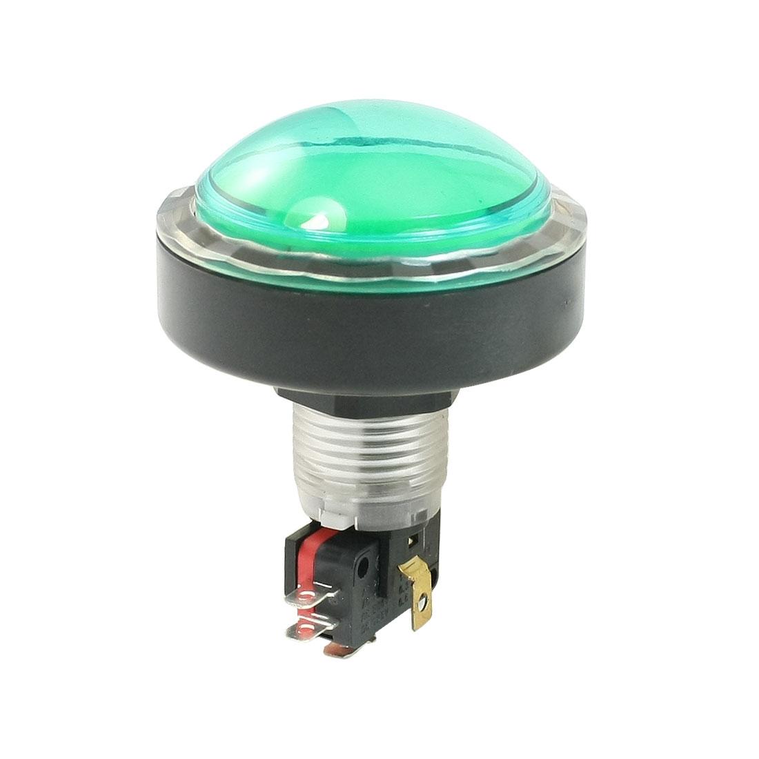 AC 250V/125V 15A 12V DC Lamp Green Circular Push Button Switch