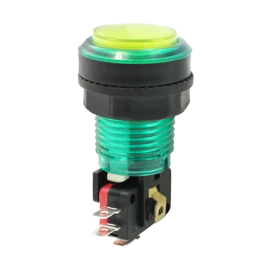 24mm Dia Yellow Flat Round Cap Momentary Push Button Switch