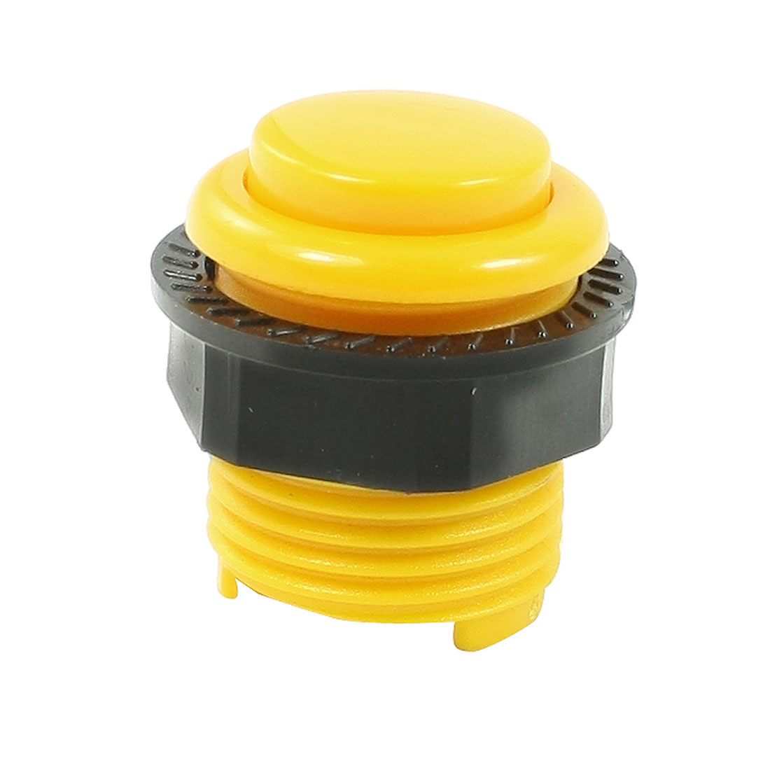 AC 250V 1.5A Normally Open 2 Soldering Points 24mm Dia Thread Push Button Switch Yellow