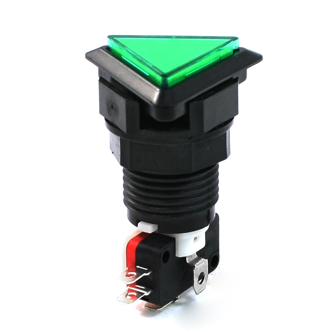 Green Triangle Cap NO NC Illuminated Push Button Switch AC 250V 15A