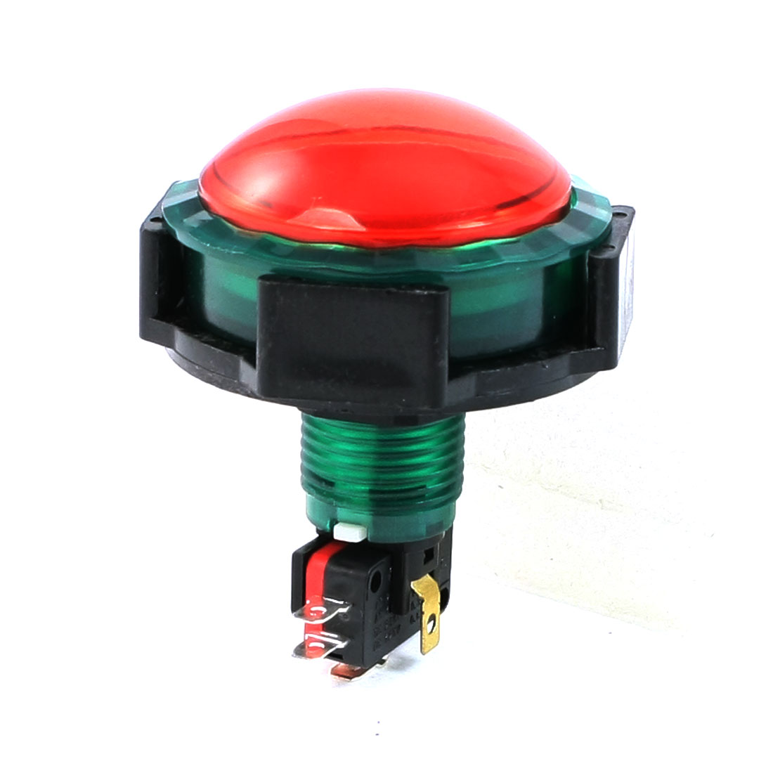 AC 125V 250V 15A Green Black Shell DC 12V Red Lamp Momentary Push Button Switch