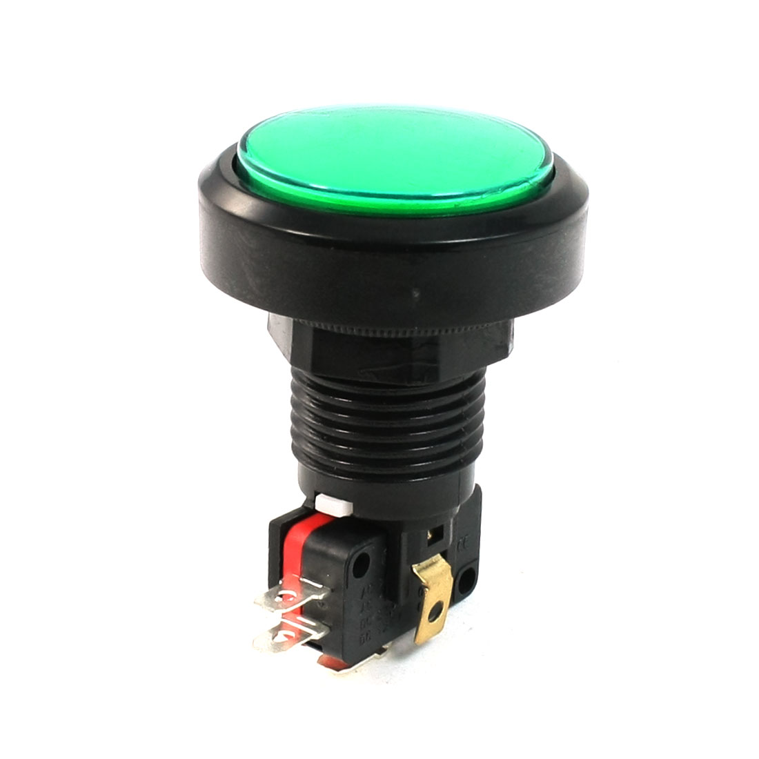 25mm Mounting Hole Green Cap Momentary Push Button Switch AC 125V/250V 15A