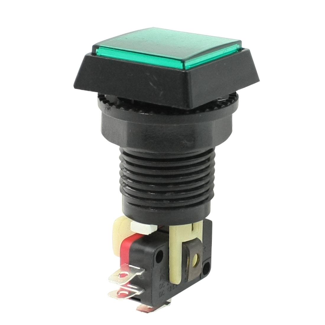 Green Square Cap NO NC Illuminated Push Button Switch AC 125V/250V 15A