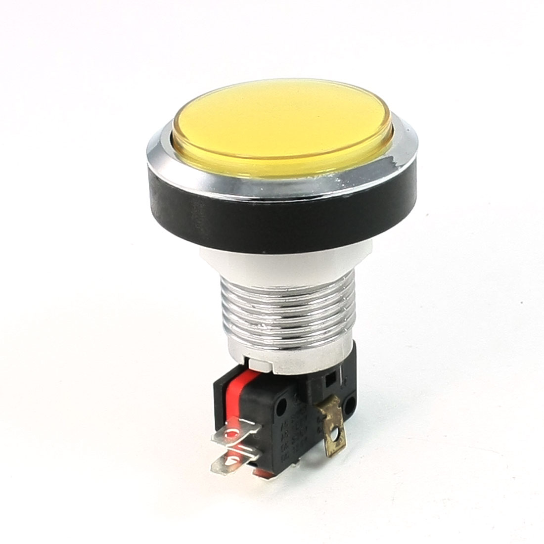 AC 125V/250V 15A Metal Shell 45mm Yellow Momentary Push Button Switch