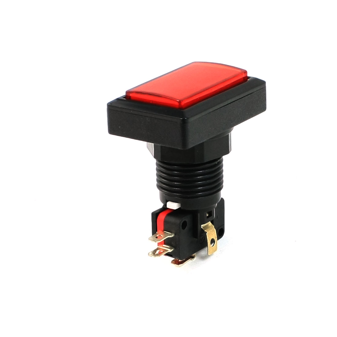 50mm x 33mm AC 250V 15A Illuminated Rectangle Red Momentary Push Button Switch