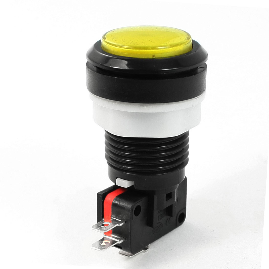 33mm AC 250V 15A Yellow Cap NO NC Momentary Push Button Switch
