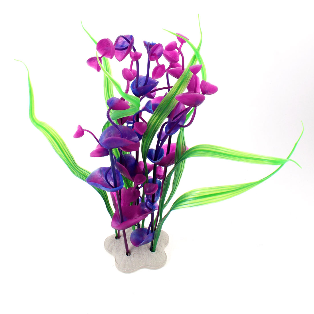 "9.4"" Height Green Grass Violet Purple Flower Aquatic Plant for Aquarium"