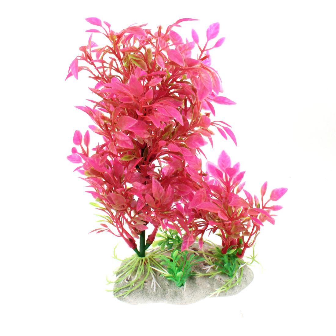 "Aquarium Ceramic Base 8.3"" Height Aquatic Fuchsia Artificial Plant Grass"