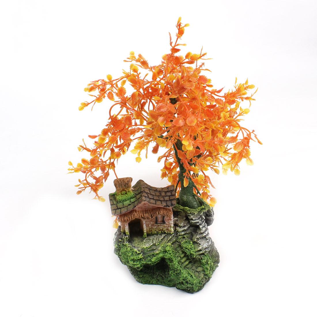 """9.9"""" Height Orange Yellow Aquarium Simulation Plastic Trees for Fish Tank"""