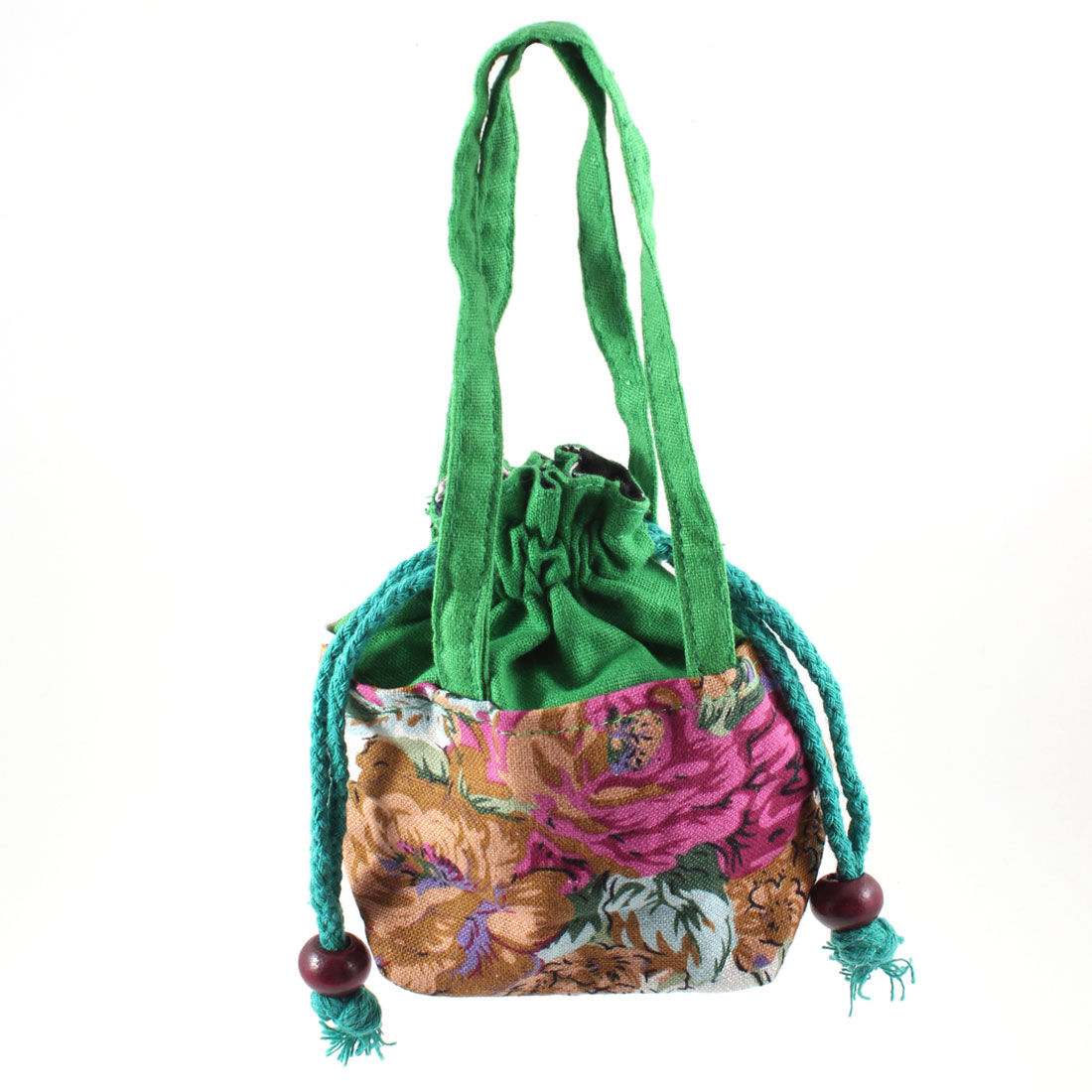 Woman Accessory Champagne Color Flower Prints Nylon Purse Tote Handbag Green