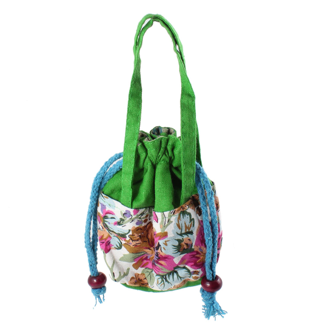 Lady Drawstring Nylon Blue Strap Floral Print Handbag Tote Bag Green