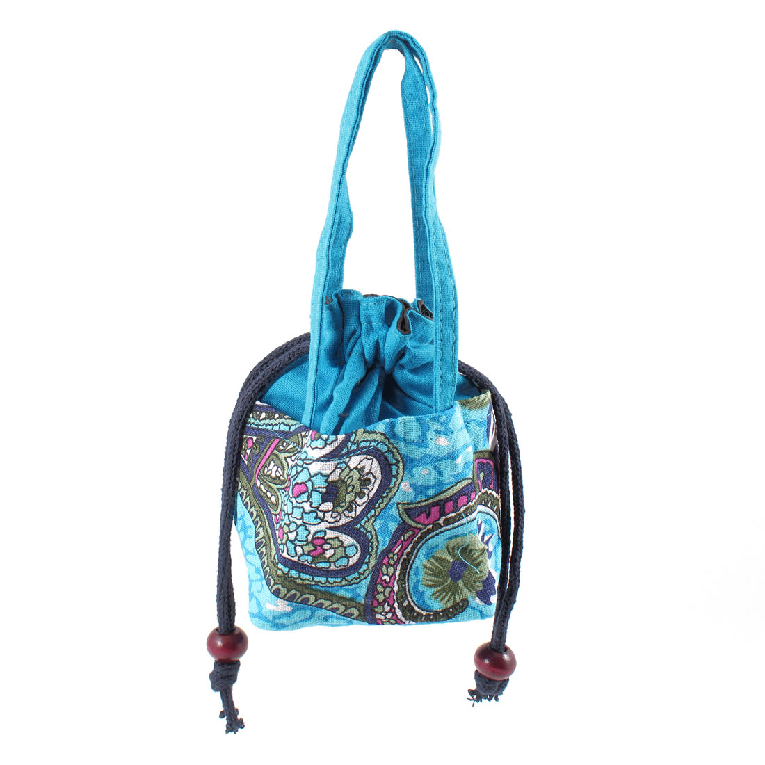 Lady Blue Drawstring Novelty Prints Nylon Handbag Tote Bag