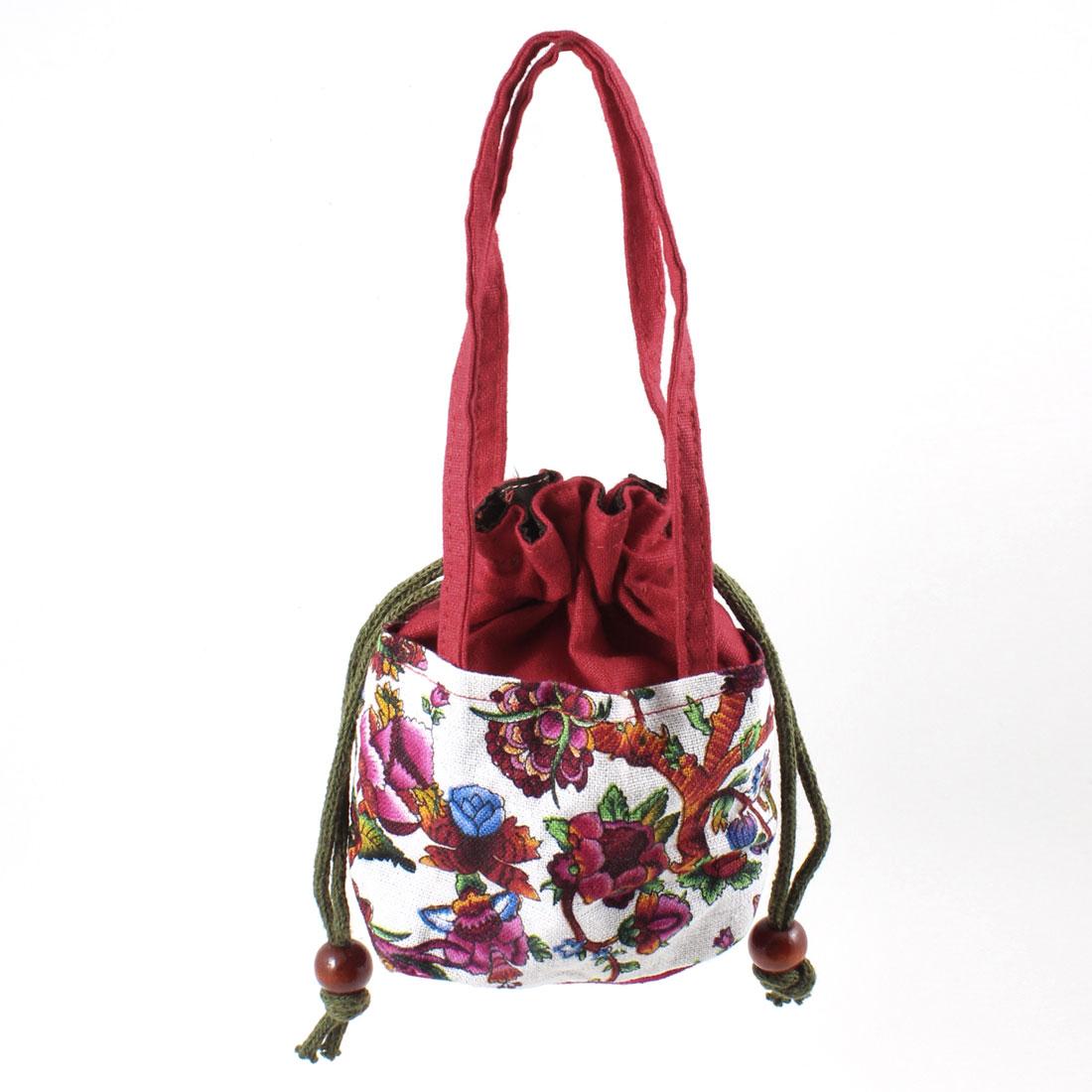 Lady Accessory Olive Green Drawstring Novelty Prints Nylon Handbag Burgundy
