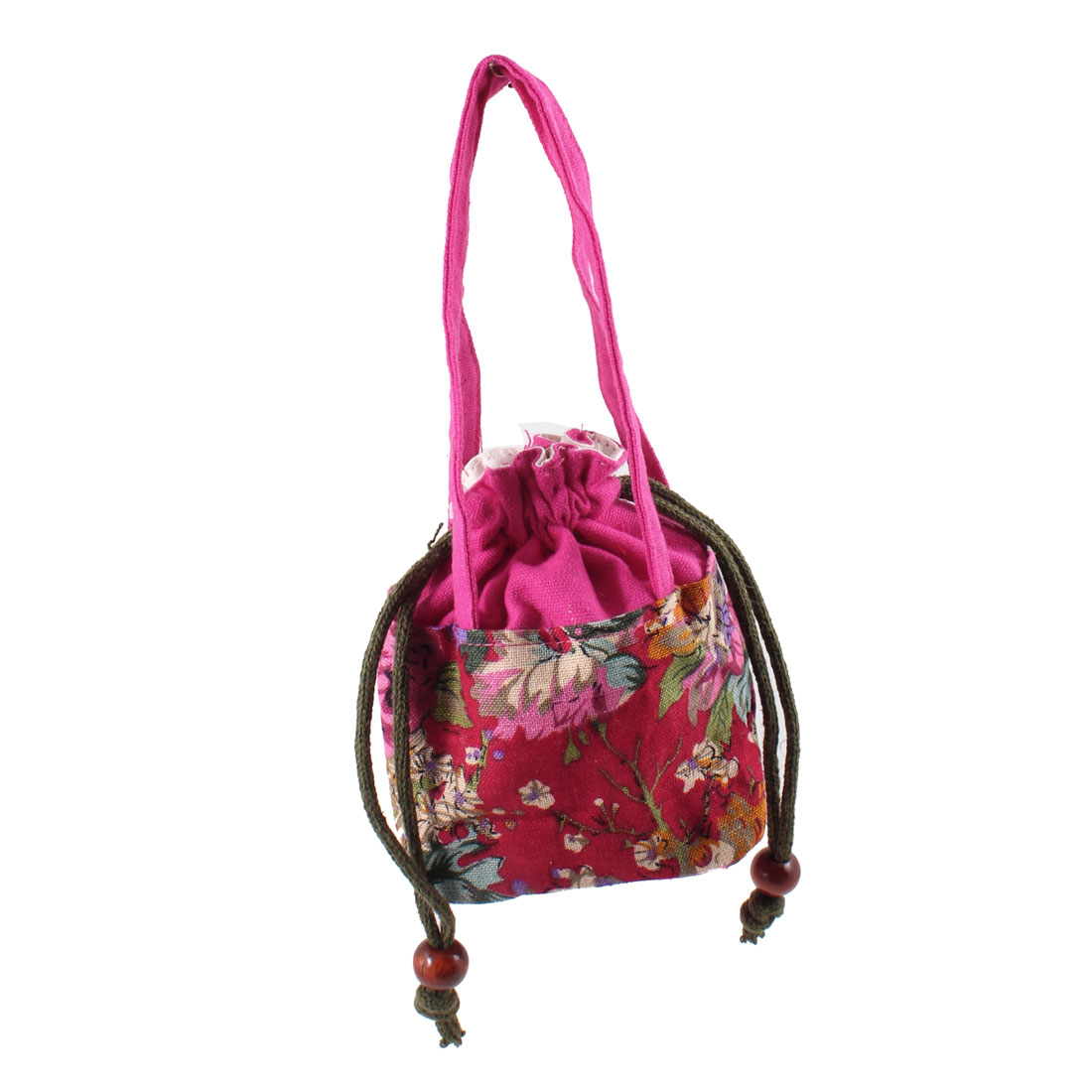 Lady Drawstring Nylon Blue Strap Floral Print Handbag Tote Bag Fuchsia