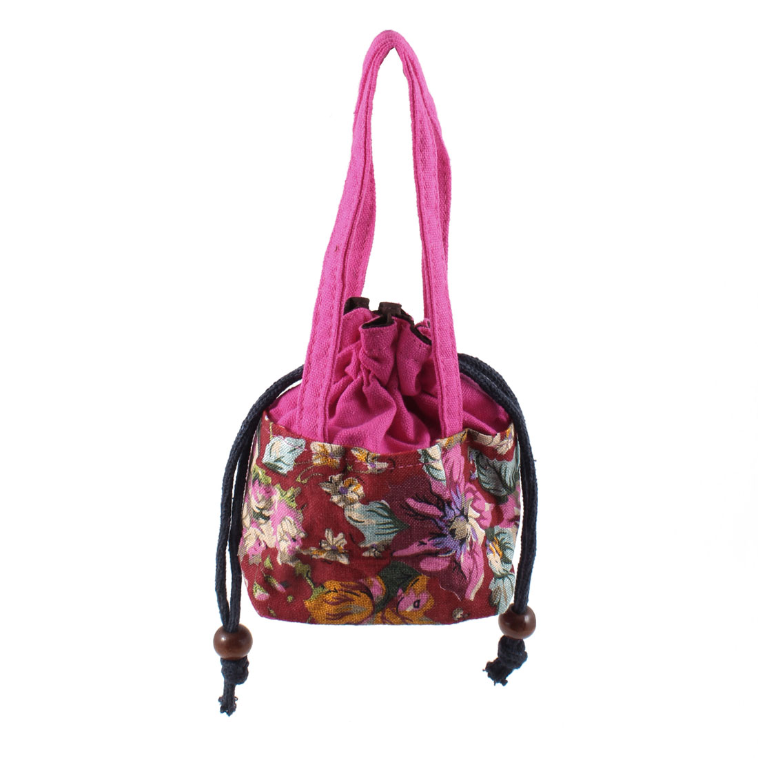 Women Portable Fuchsia Drawstring Closure Flower Pattern Nylon Purse Tote Bag