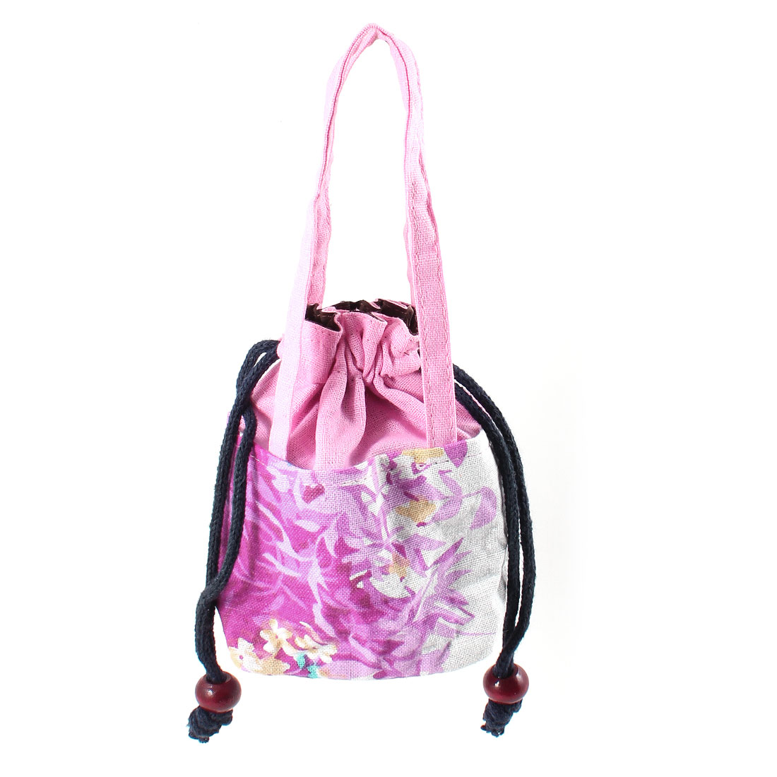 Lady Drawstring Floral Printed Pink Wrist Strap Handbag Tote Purse