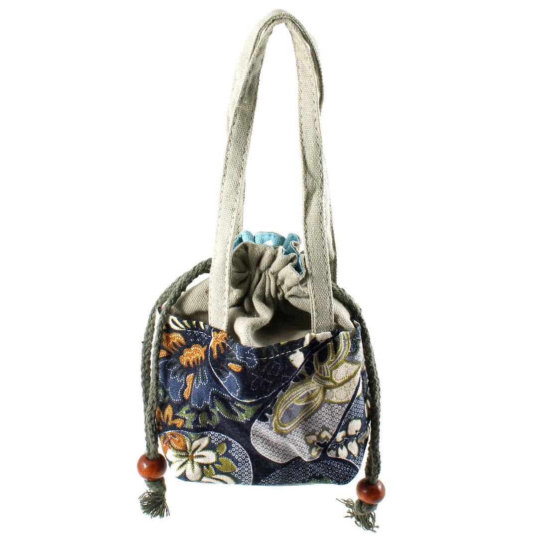 Lady Accessory Drawstring Design Navy Blue Novelty Prints Handbag Tote Bag Gray