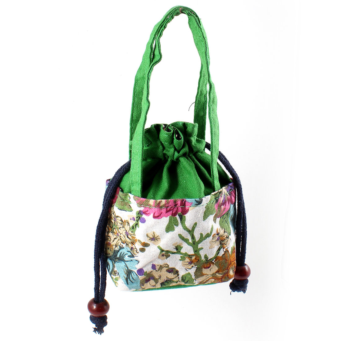 Woman Accessory Regtangle Flower Prints Nylon Purse Tote Handbag Green
