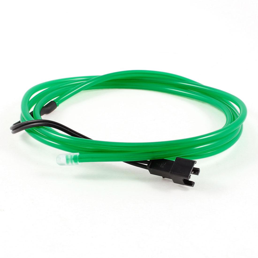 1M Long 3.2mm Dia Green Light Flexible EL Wire Neon Glow Strip Rope