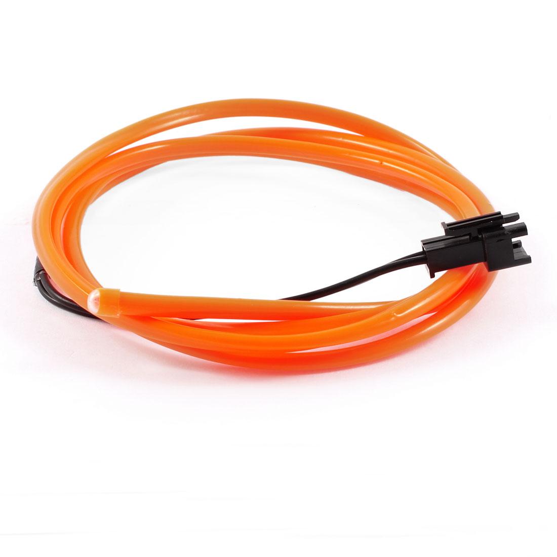 1M Long 4mm Dia Orange Flexible EL Wire Neon Glow Light Lamp Rope