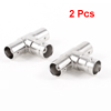 2 Pcs 3 Way Female to Female Socket T Shape BNC Coaxial Connector