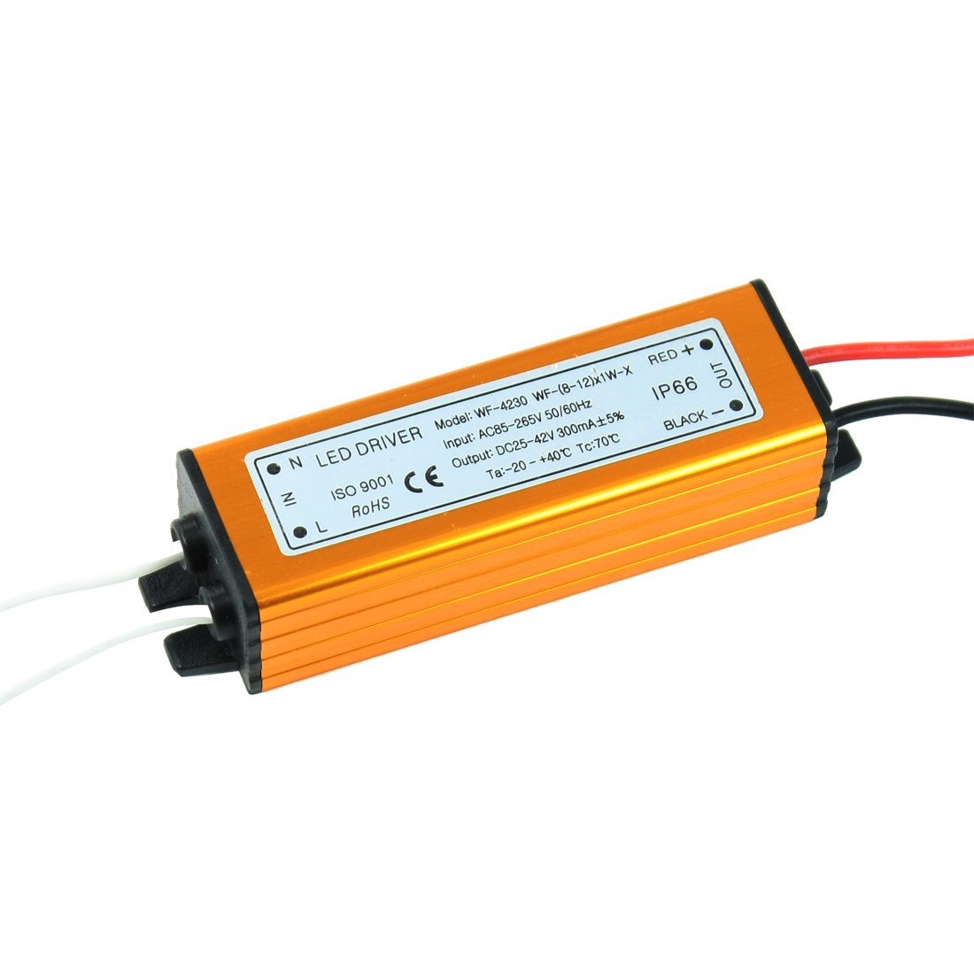 AC 180-265V Waterproof Constant Current Driver Power Supply for (8-12)x1W LED