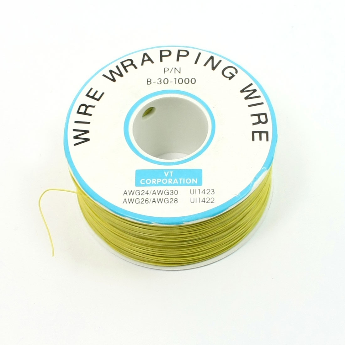 Yellow PVC Coated Tin Plated Copper Wire Wrapping Cable Reel 30AWG 305M