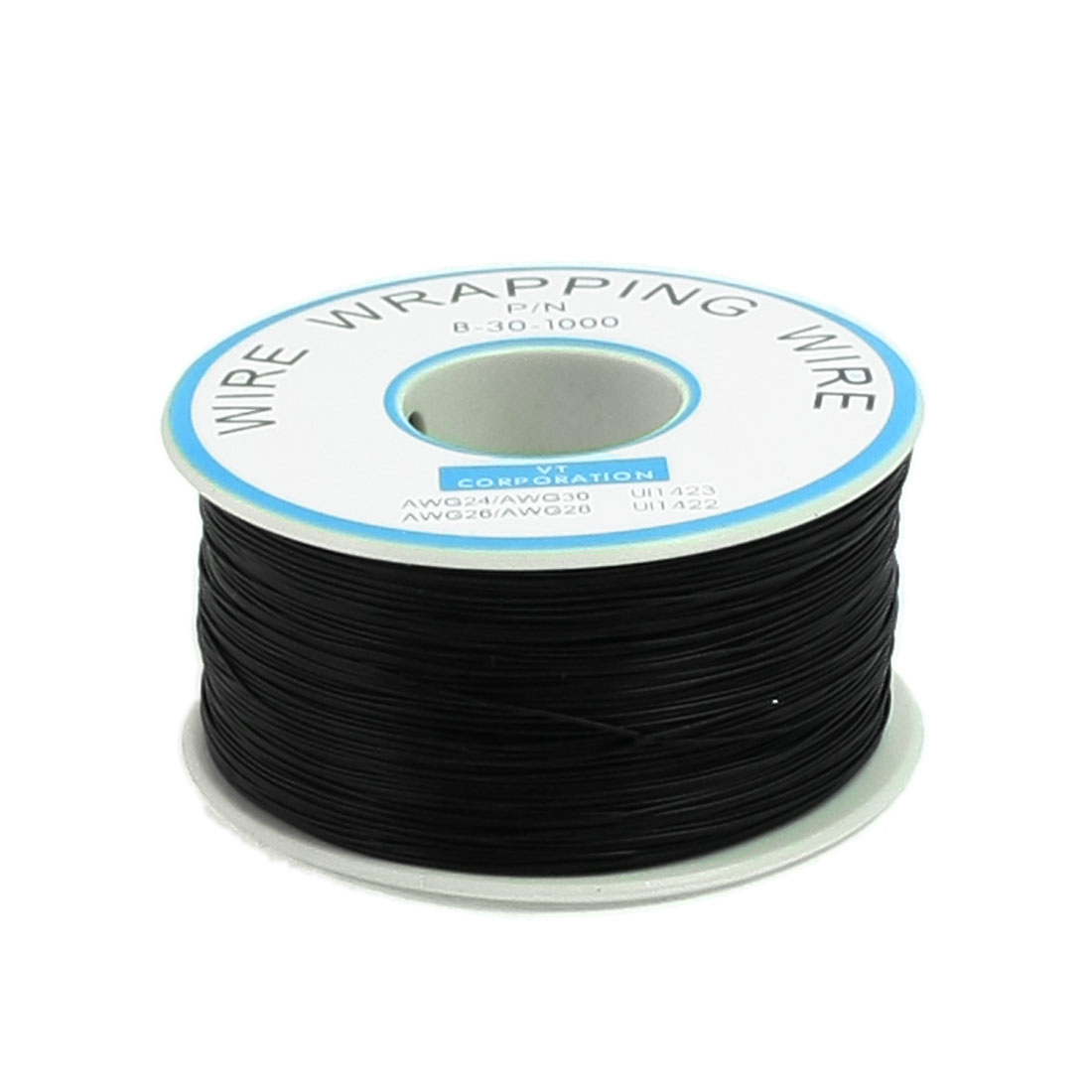 Black PVC Coated Tin Plated Copper Wire Wrapping Cable Reel 30AWG 305M