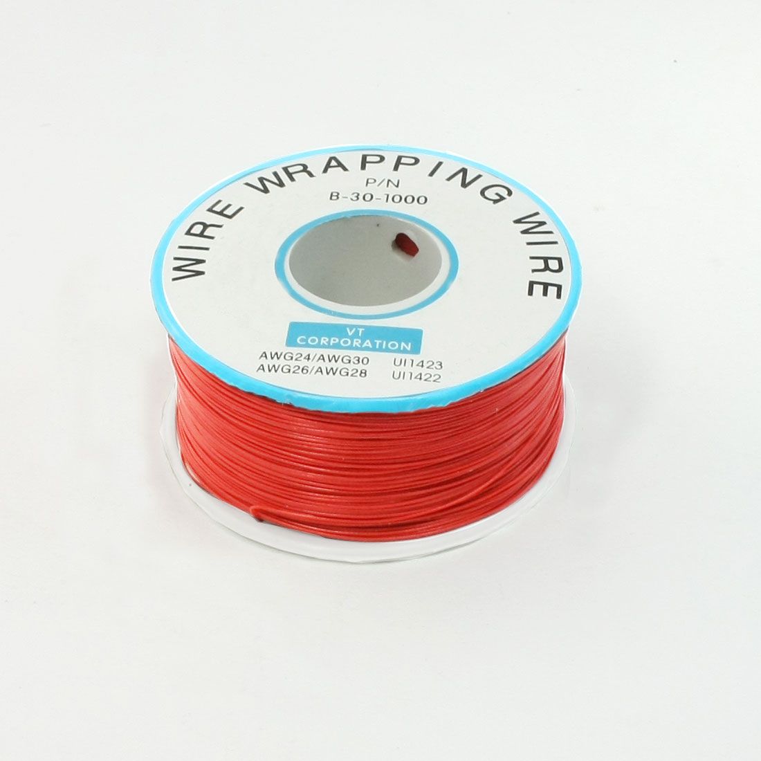 Red PVC Coated Tin Plated Copper Wire Wrapping Cable Reel 30AWG 305M