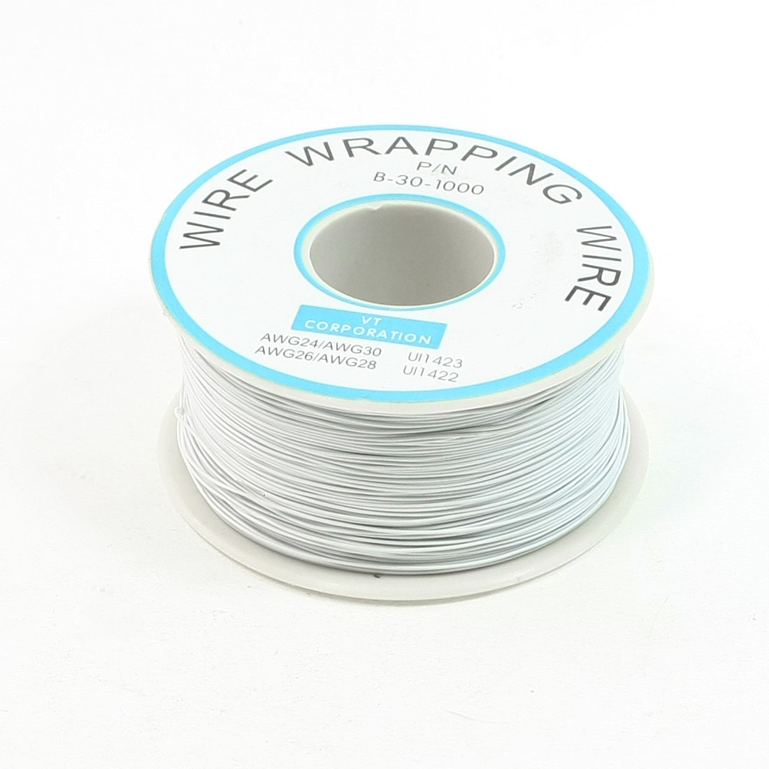 White PVC Coated Tin Plated Copper Wire Wrapping Cable Reel 30AWG 305M