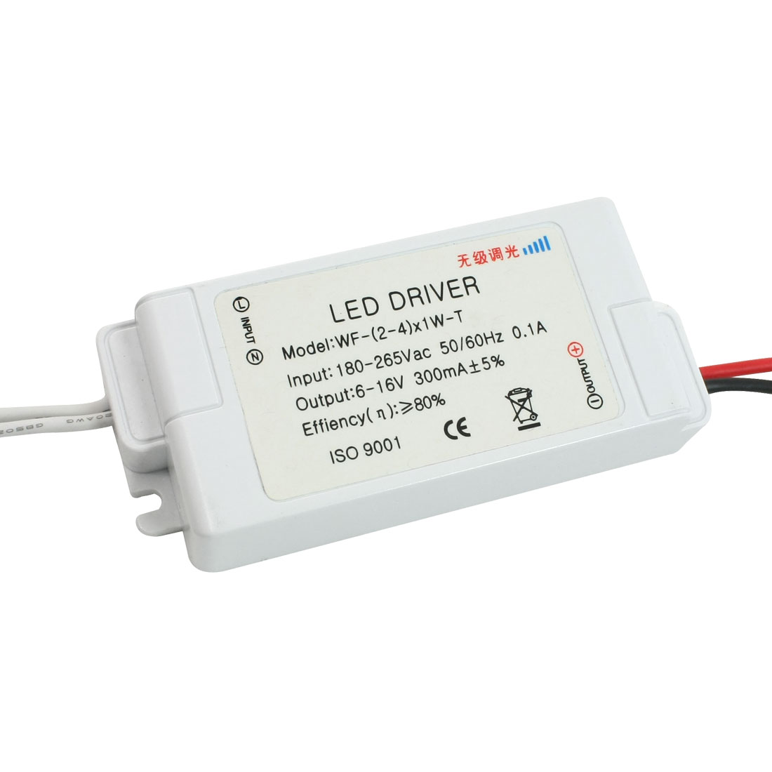 AC 180-265V DC 6-16V Stepless Dimmer Driver Power Supply for (2-4)x1W LED Light
