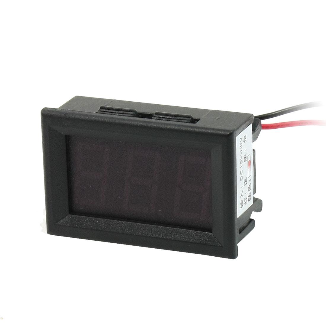 DC 15-80V 2-Wire Mini Red LED 3-Digit Volt Voltage Panel Meter Voltmeter