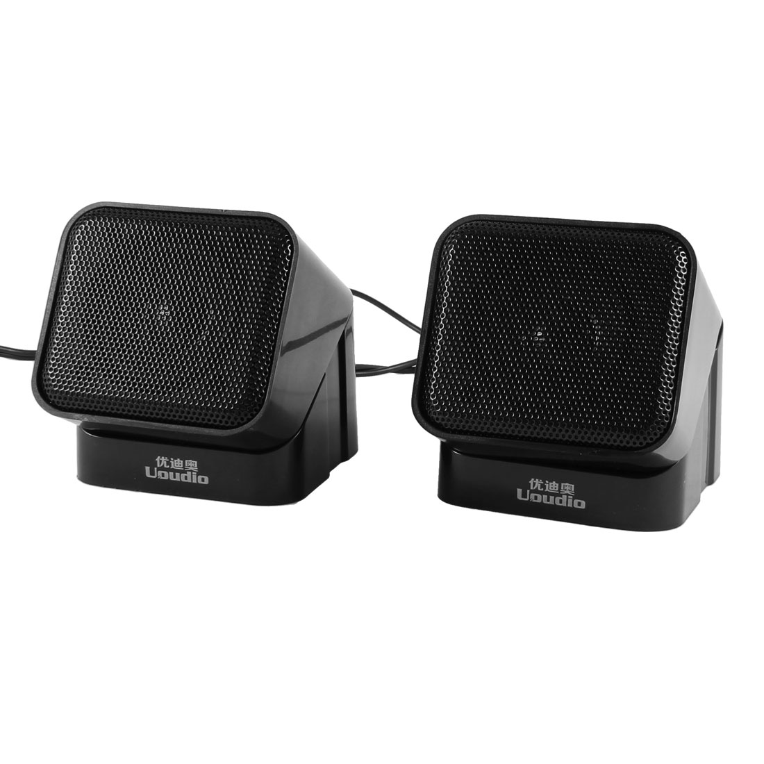 Pair 3.5mm Plug USB 2.0 Square Mini Multimedia Speaker Loudspeaker Black