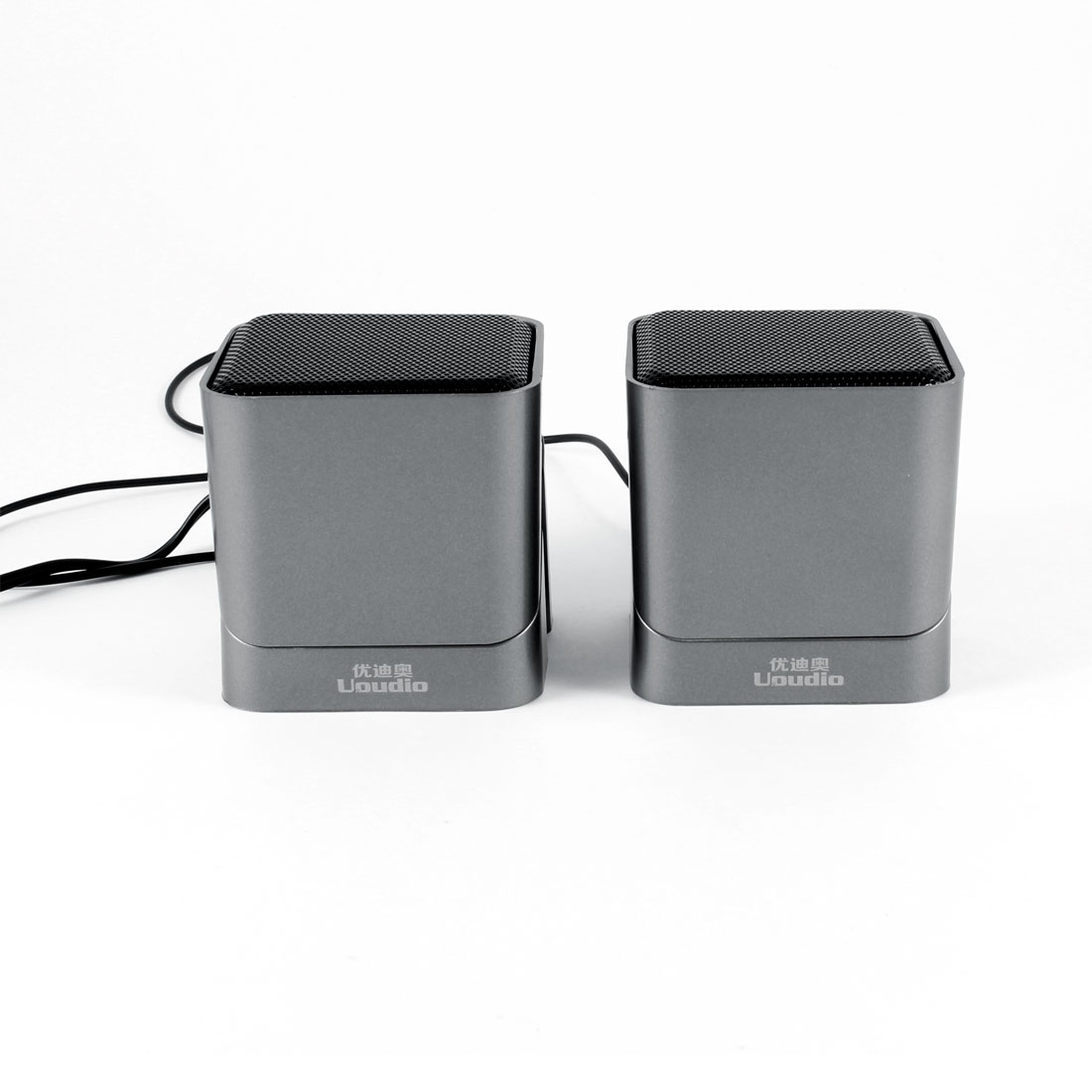 Silver Tone Volume Control USB 2.0 Desktop Mini Speaker Box Pair for MP4 PC Computer