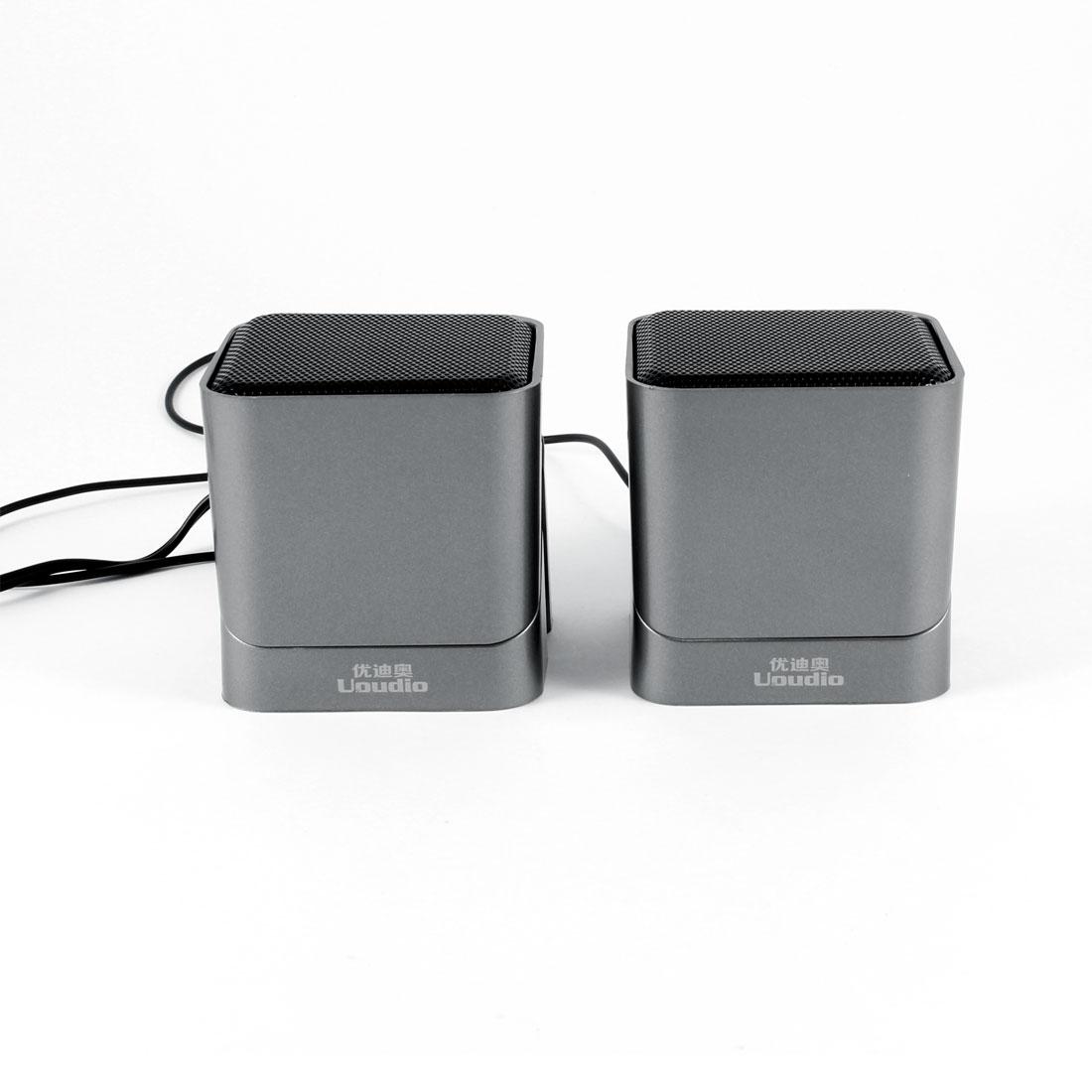 Silver Tone Volume Control USB 2.0 Desktop Mini Speaker Box Pair for MP4 PC Computer