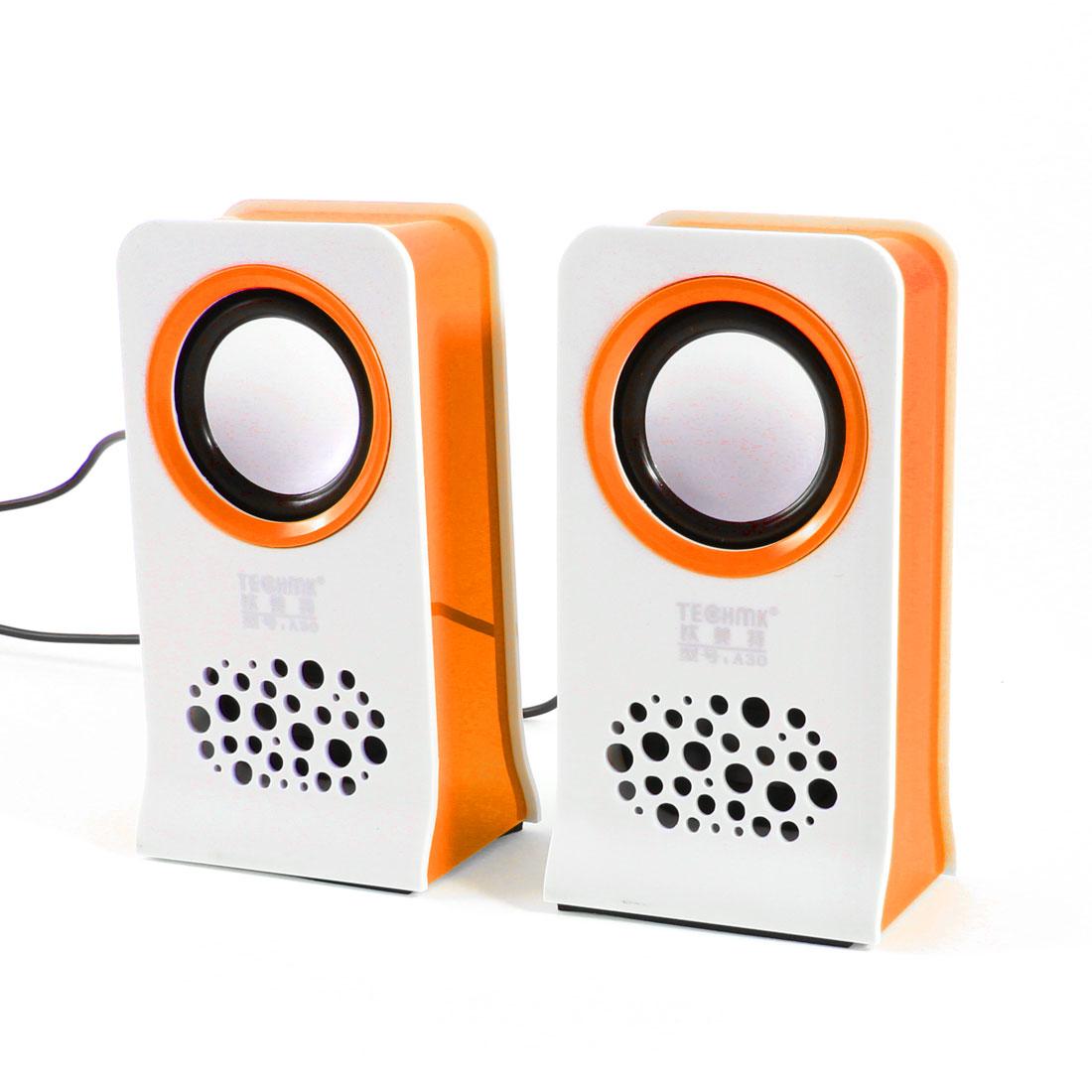 Pair MP3 Mp4 3.5mm Plug USB 2.0 Mini Multimedia Speaker Loudspeaker White Orange