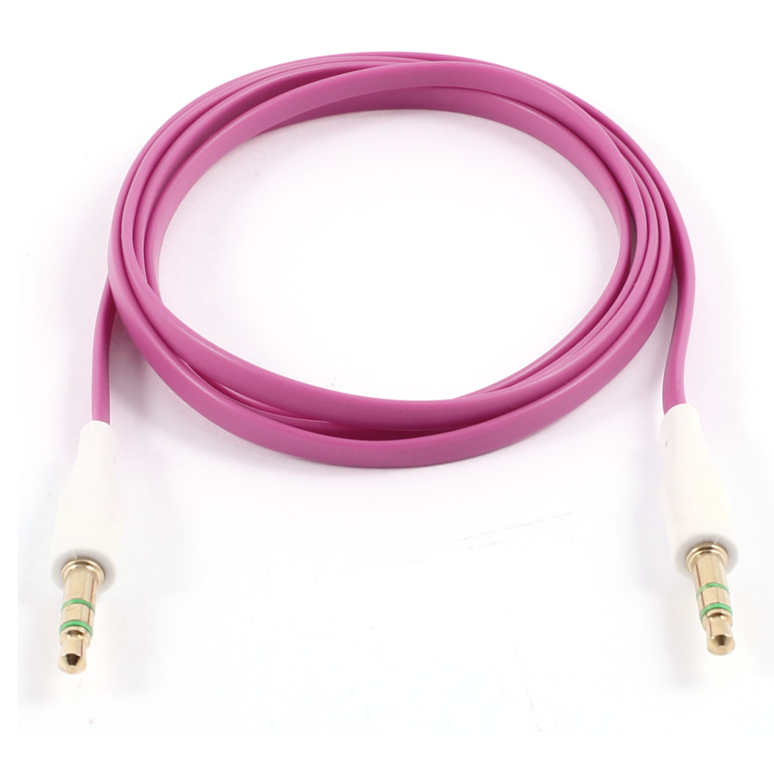 PC MP3 Adapter M/M 3.5mm to 3.5mm Flat Audio Extension Cable 3.4ft Fuchsia
