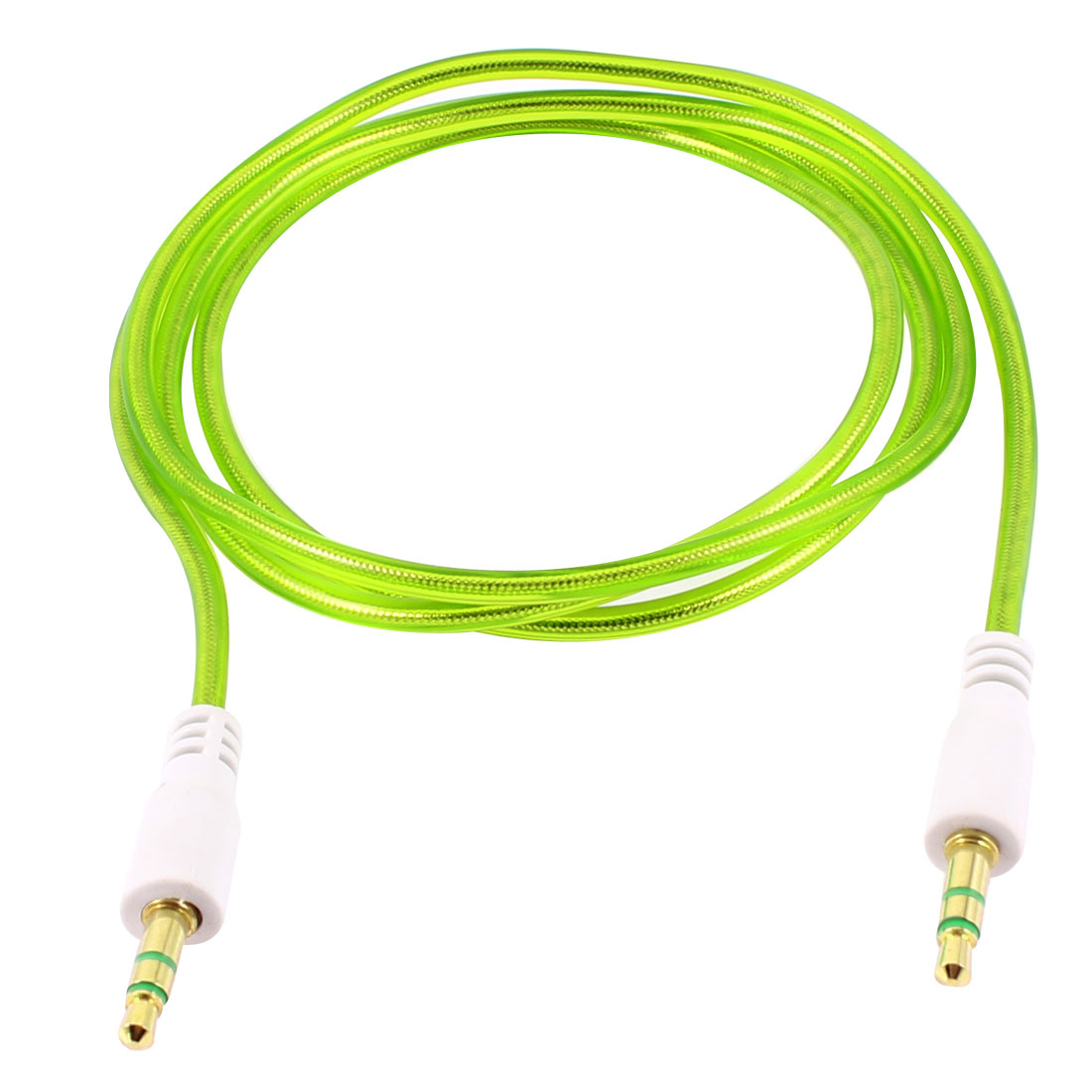 3.4ft 3.5mm Male to Male Jack Plug Audio Cable Green for Mobile Phone Mp4 Mp3