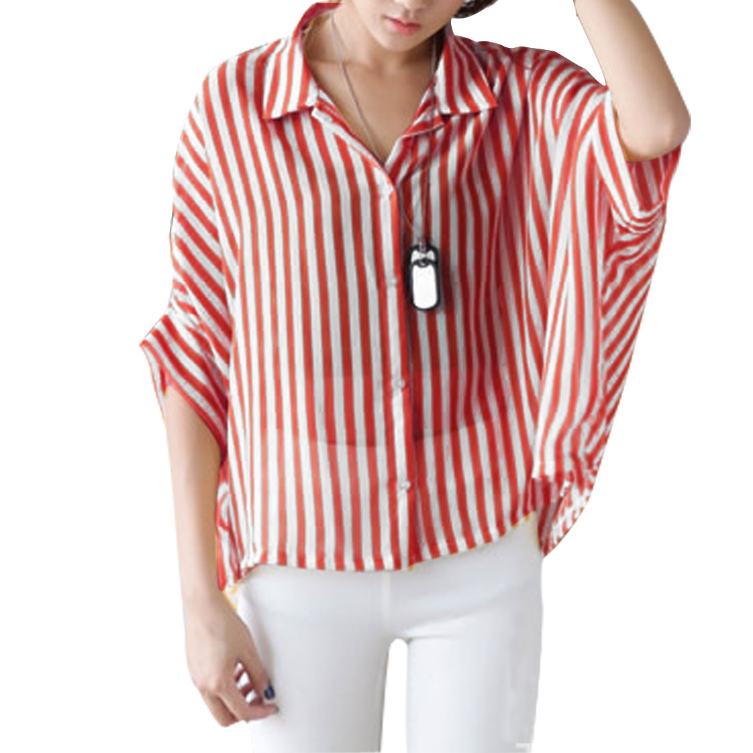 Woman Poit Collar Elbow Batwing Sleeve Button Down Red White Blouse M