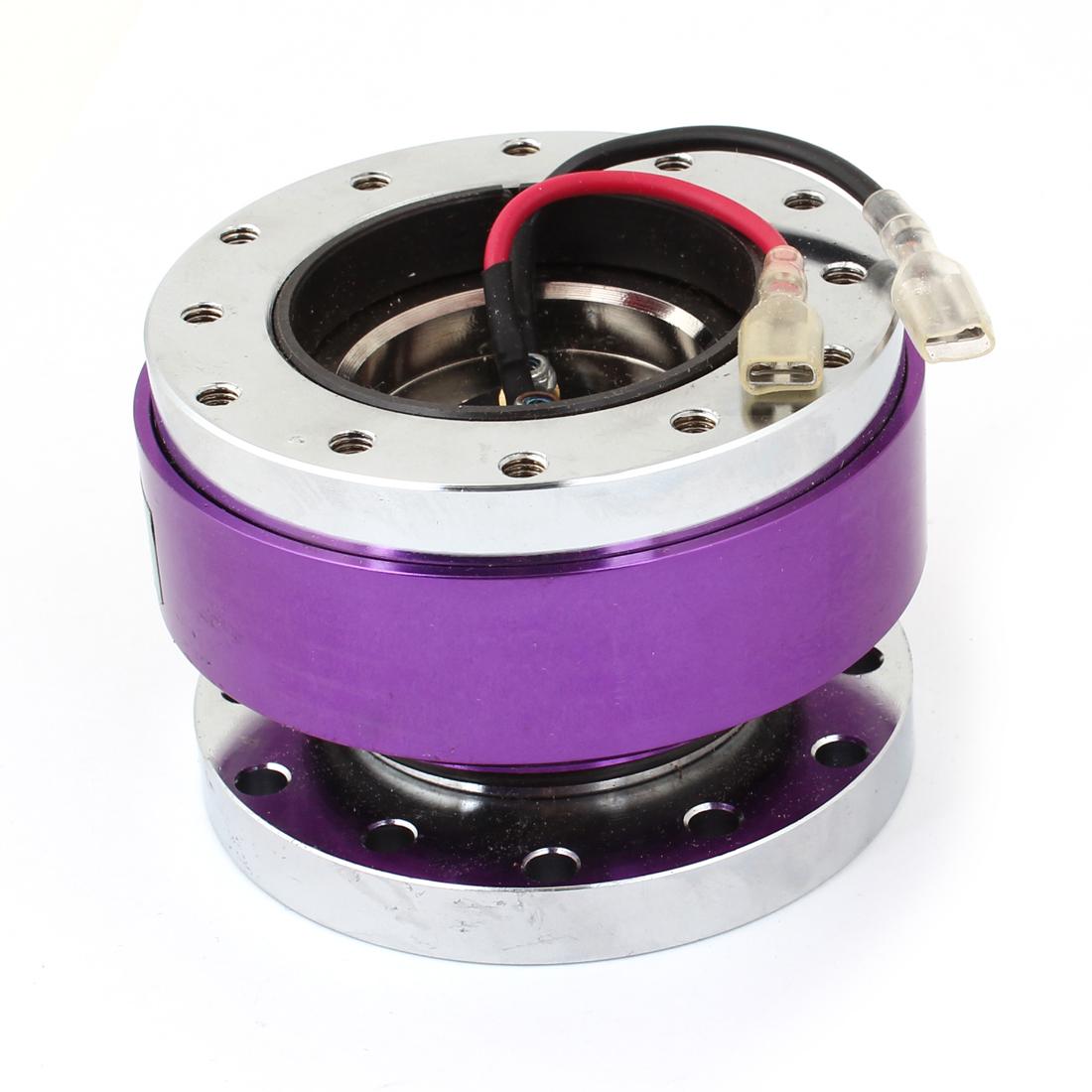 Vehicle Car Rolling Ball Type Steering Wheel Hub Adapter Kit Silver Tone Purple