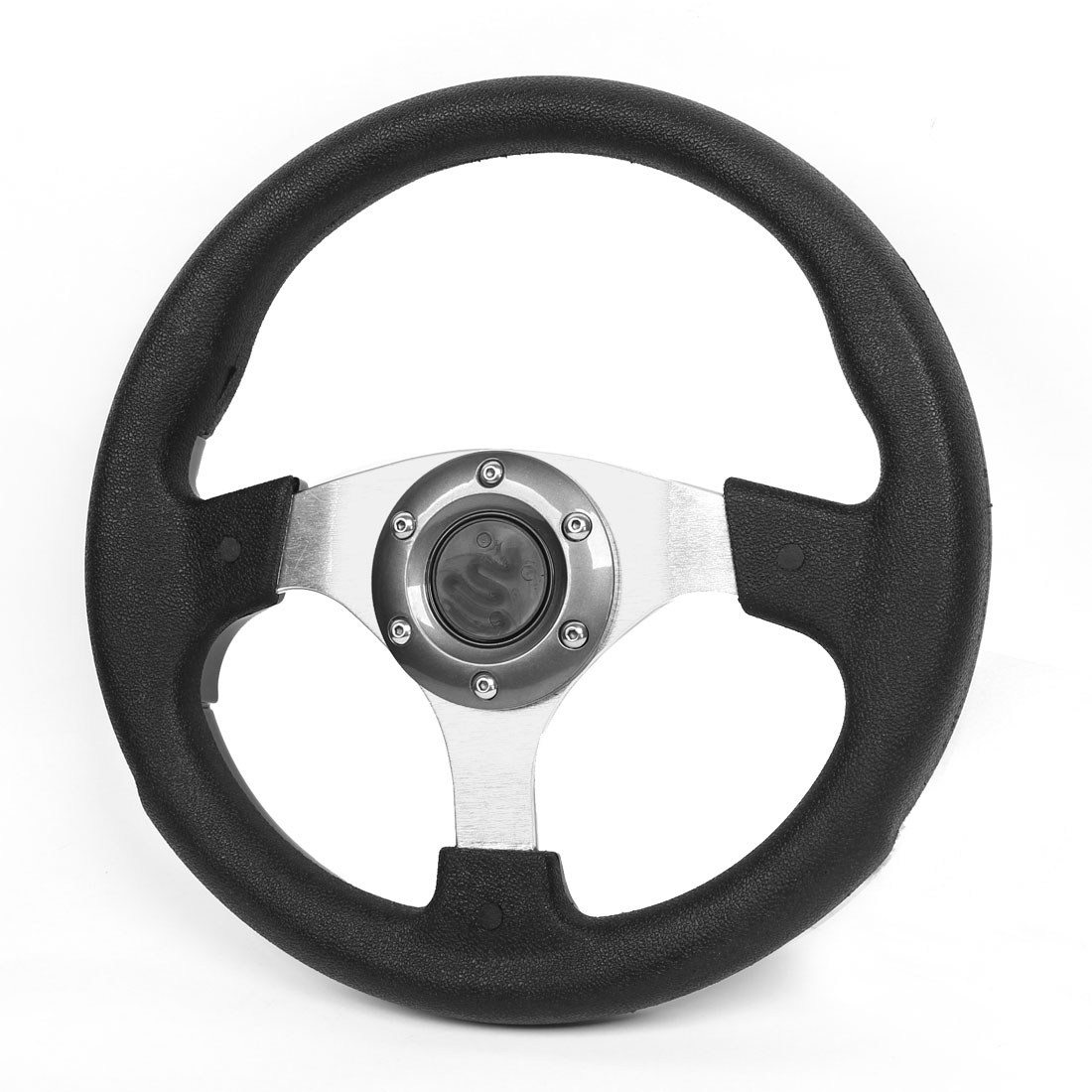 Faux Leather Wrapped 6 Holes Steering Wheel Black Gray for Car
