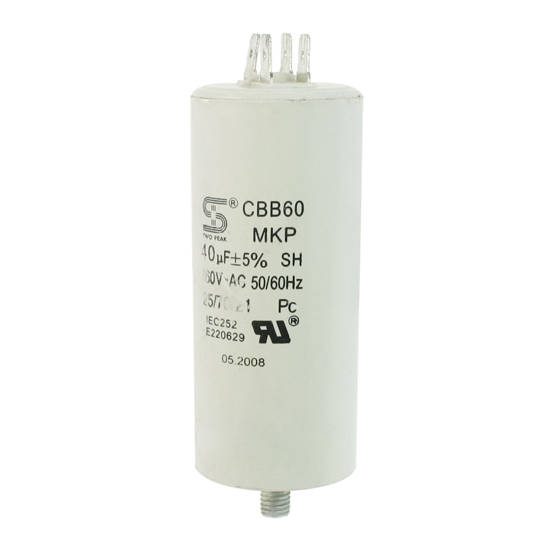 8mm Male Thread Washing Machine Polypropylene Film Capacitor CBB60 5% 40uF AC260V