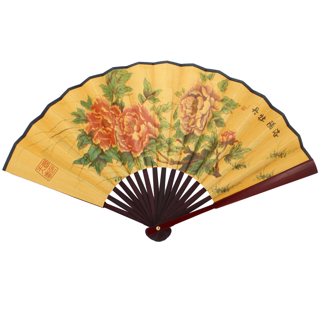 Traditional Poems Flower Printed Foldable Hand Fan Yellow